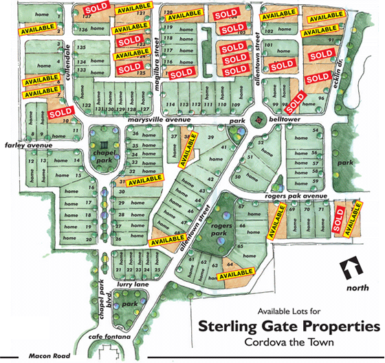 Sterling Gate Properties   Cordova The Town • Lots Available